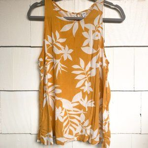 🆕 Floral High Neck Swing Tank OLD NAVY Yellow Wht